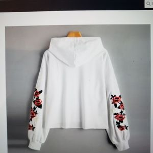 Miskay Tops - Rose Embroidered drawstring hooie